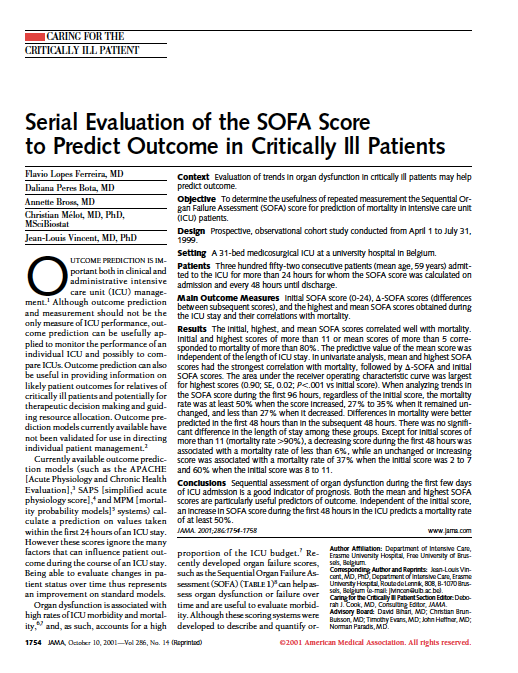 While The Tf Recommended That An Acute Change Of More Than 2 Sepsis Related Organ Dysfunction Essment Sofa Points Would Identify